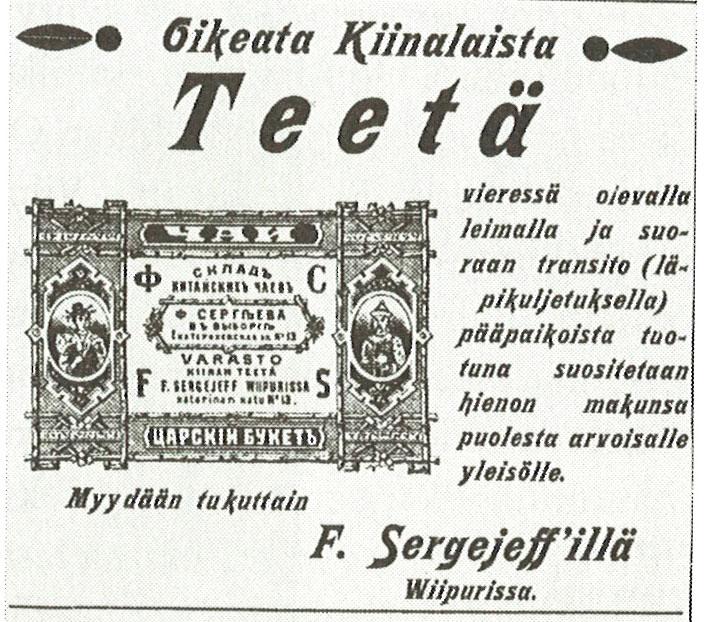 Ilmoitus Wuoksi-lehdessä 4.10.1898.